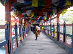 walking over the bridge in Thimphu